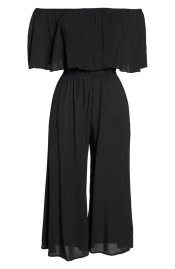 Elan Off The Shoulder Cover-Up Jumpsuit, Black