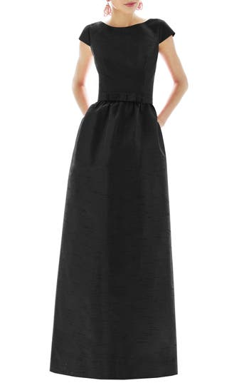 Alfred Sung Cap Sleeve Dupioni Full Length Dress, Black