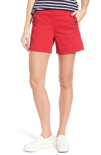 Vintage High Waisted Shorts, Sailor Shorts, Capris Womens Jag Jeans Sailor Button Detail Shorts Size 14 - Red $69.00 AT vintagedancer.com