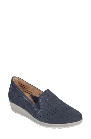 Earth Juniper Perforated Slip-On Wedge, Blue
