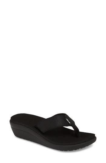 Women's Teva Voya Wedge Flip Flop, Size 11 M - Black