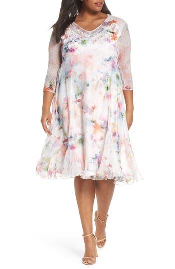 Plus Size Komarov Charmeuse & Chiffon A-Line Dress, Grey