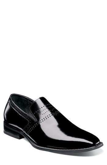 Stacy Adams Saunders Perforated Venetian Loafer, Black