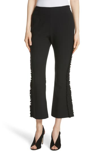 Cinq A Sept Yael Ruffle Trim Crop Flare Pants, Black