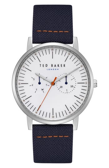 Ted Baker London Brit Multifunction Leather Strap Watch, 40Mm