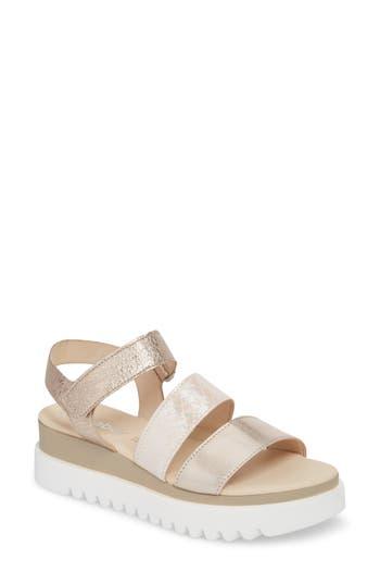 Women's Gabor Layered Platform Sandal, Size 9.5 M - Metallic