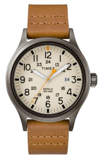 Timex Allied Leather Strap Watch, 40Mm