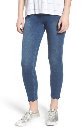 Lysse Scallop Hem Denim Leggings, Blue