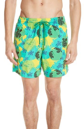 Vilebrequin Eco Turtle Print Swim Trunks, Green