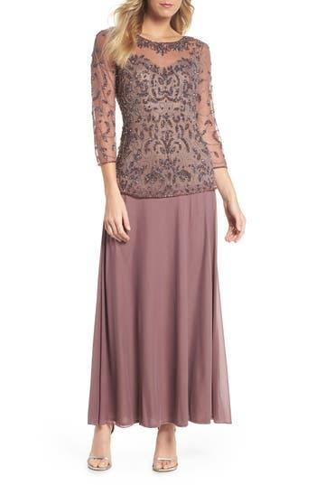 Pisarro Nights Beaded Mesh Mock Two-Piece Gown, Purple