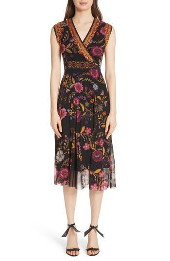 Fuzzi Reversible Folk Floral Print Tulle Dress, Black