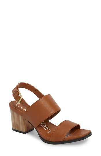 Calvin Klein Rosemary Block Heel Sandal- Brown