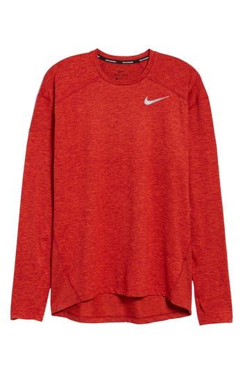 Nike Running Dry Element Long Sleeve T-Shirt, Red