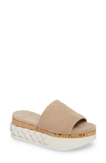 Agl Braided Flatform Slide Sandal, Beige