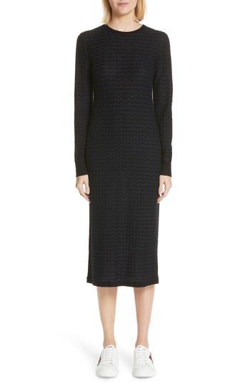 Marc Jacobs Stripe Wool Sweater-Dress, Blue