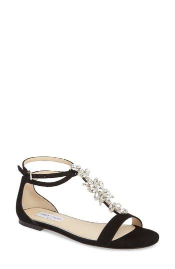 Women's Jimmy Choo Averie Embellished T-Strap Flat, Size 7US / 37EU - Black