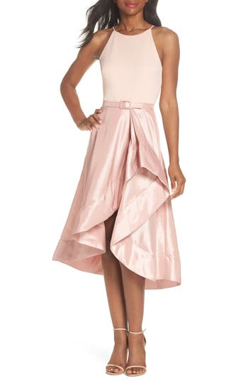 Eliza J Asymmetrical Tea Length Dress, Pink