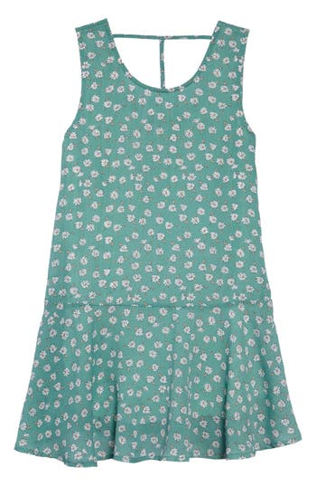 Vintage Style Children's Clothing: Girls, Boys, Baby, Toddler Big Girls Brooklyn Floral Drop Waist Dress $64.00 AT vintagedancer.com