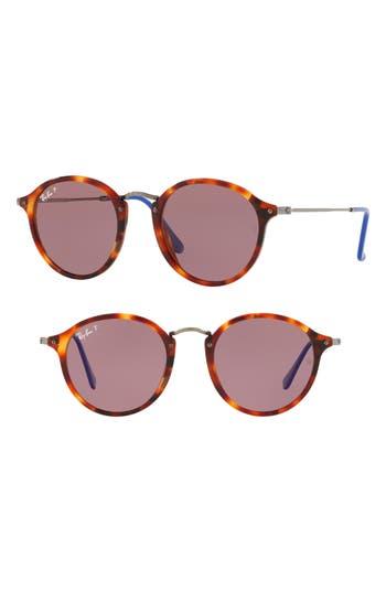 Ray-Ban 52Mm Polarized Round Sunglasses - Red Havana
