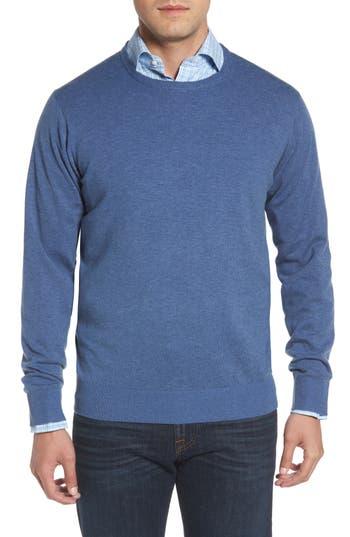 Peter Millar Wool & Cotton Crewneck Sweater, Blue
