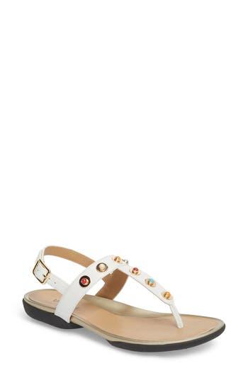 Vaneli Wally Studded T-Strap Sandal, White