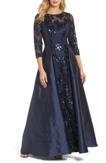 Victorian Dresses, Clothing: Patterns, Costumes, Custom Dresses Womens Adrianna Papell Sequin Taffeta Gown Size 10 - Blue $167.40 AT vintagedancer.com