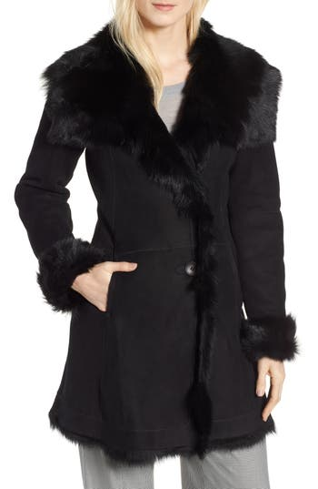 Hiso Malibu Toscana Genuine Doubleface Lambskin Shearling Trimmed Coat, Black