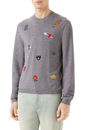 Gucci Embroidered Wool Crewneck Sweater, Grey