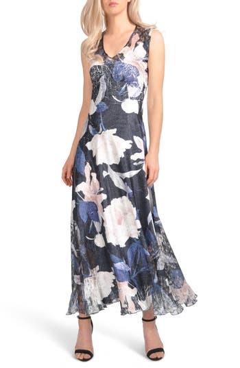 Komarov Lace-Up Maxi Dress, Blue
