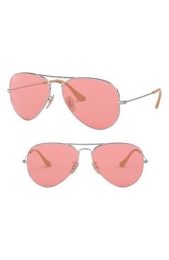 Ray-Ban Evolve 55Mm Photochromic Aviator Sunglasses - Pink