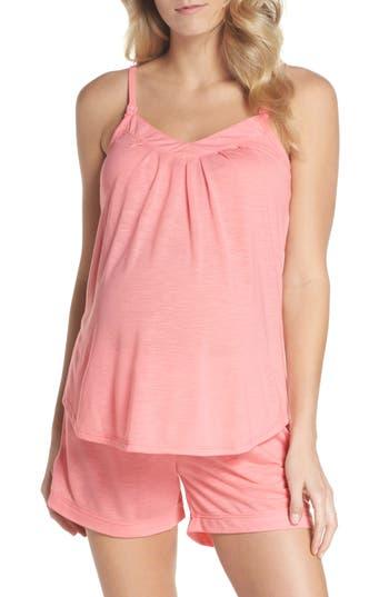 Belabumbum Summer Maternity/nursing Short Pajamas, Coral
