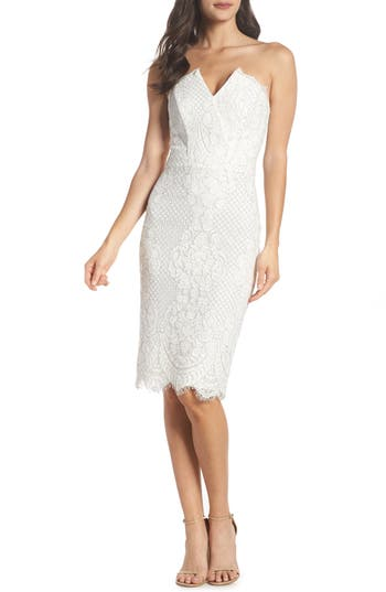 Harlyn Strapless Lace Cocktail Dress, Ivory