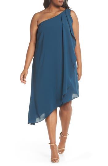 Plus Size Adrianna Papell Gauzy One-Shoulder Crepe Dress, Blue