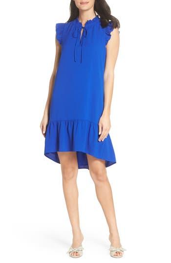 Petite Charles Henry Ruffle Shift Dress, Blue