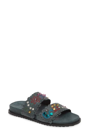 Women's Free People Spellbound Embellished Slide Sandal, Size 9US / 39EU - Black