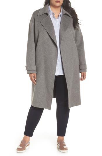 Plus Size Badgley Mischka Double Face Wool Blend Wrap Front Coat, Grey