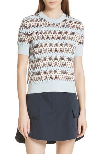 Carven Textured Stripe Merino Wool & Cotton Sweater, Blue