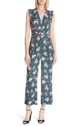 Rebecca Taylor Emilia Floral Sleeveless Silk Jumpsuit, Burgundy