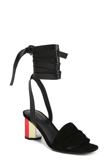 Via Spiga Nova Ankle Wrap Sandal, Black