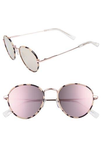 Le Specs Zephyr Deux 50Mm Round Sunglasses - Mist Tortoise