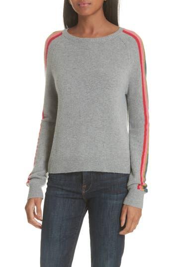 Allude Rainbow Stripe Merino Wool Blend Sweater, Grey