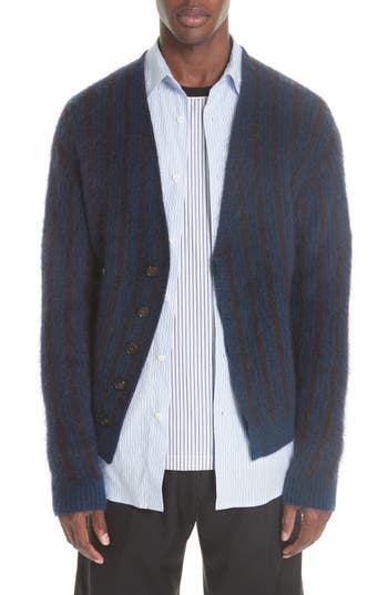 3.1. Phillip Lim Brushed Jacquard Cardigan, Blue/green