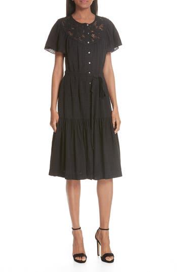La Vie Rebecca Taylor Linen Lace Yoke Dress, Black