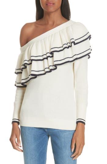 Frame Ruffle One-Shoulder Wool Blend Sweater, Ivory