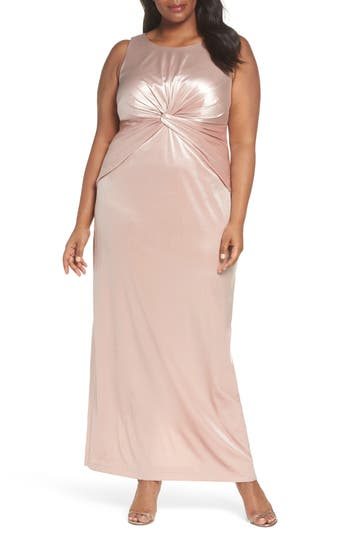 Plus Size Vintage Dresses, Plus Size Retro Dresses Plus Size Womens Adrianna Papell Twist Front Velvet Gown $229.00 AT vintagedancer.com