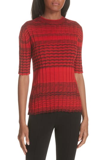Helmut Lang Stripe Rib Knit Merino Wool Sweater, Red
