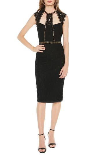 Bardot Splice Panel Lace Cocktail Dress, Black
