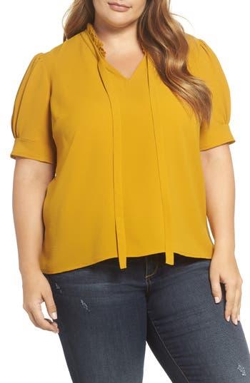 1930s Style Blouses, Shirts, Tops | Vintage Blouses Plus Size Womens Cece Ruffle Tie Neck Top Size 1X - Yellow $47.40 AT vintagedancer.com