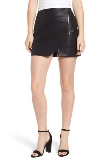 Blanknyc Faux Leather Zip Miniskirt, Black