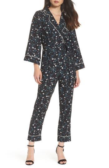ADELYN RAE Addison Pajama Jumpsuit, Black-Green